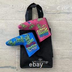 Scotty Cameron Gallery Pink & Blue Peace Painter Surfer Blade Putter Covers RARE
